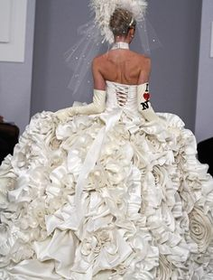 Vertical ruffles again--I need to learn how to make these!    Pnina Tornai   I guess this is the rear view...  what is the world coming to?