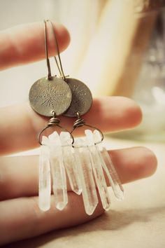 Boho Dreamcatcher Crystal Earrings in Fine Silver / Earthy Tribal Jewelry, via Etsy.