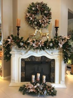 Set Of 3 Pc Christmas Decor Stunning Icy Pink Decor Free Etsy Diy Christmas Fireplace, Christmas Mantels, Gold Christmas, Christmas Home, Christmas Wreaths, Fireplace Ideas, Christmas Staircase Decor, Fireplace Furniture, Christmas Trends