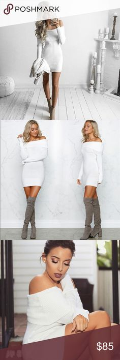 Foldover Off Shoulder Bodycon Knit Dress White Super stretchy and comfortable with a sexy silhouette. This curve hugging, cozy knit sweater dress is a sweater weather must have. Chic off shoulder neckline with a wide, ribbed trim. Long sleeve. Also super cute worn as a tunic with leggings or skinnies. OSFM (Sizes 0-8)  Available in black, grey, and white.  ❌ Sorry, no trades.  507676  fairlygirly fairlygirly Dresses Long Sleeve