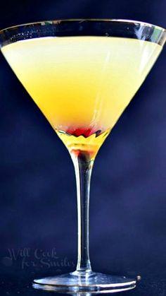 Flirtini - Pinapple Champagne Martini Recipe ~ sparkling martini made with vanilla vodka, champagne and pineapple juice
