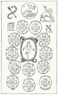The seal of Cagliostro, of the Samian Juno, the apocalyptic seal and the twelve seals of the cubic stone, surrounding the tarot key.  From Histoire de la Magie, (The History of Magic), by Éliphas Lévi (Alphonse-Louis Constant), Paris, 1922.  (Source: archive.org)