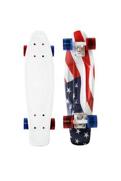 "Celebrate the Fourth of July with this patriotic Penny Skateboard. The Penny 22"" 'forever may it wave' board features a standout graphic of the American Flag printed on a white deck."