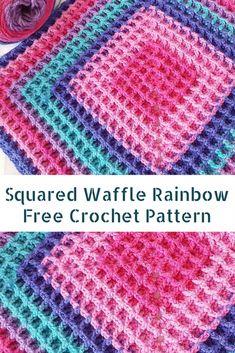 [Free Pattern] Fabulously Easy Squared Waffle Rainbow - Knit And Crochet Daily Crochet Ripple Afghan, Crochet Quilt, Crochet Baby, Free Crochet, Knit Crochet, Crochet Afghans, Easy Crochet, Chunky Crochet, Crochet Blankets
