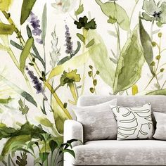 Floral wallpaper is back and it's so contemporary! Check out this beautiful Olive Green Plants wallpaper by Carol Robinson. It's great for adding subtle colour to your Scandinavian design. Where to buy watercolour wallpaper. Floral watercolour painting by Plant Wallpaper, Botanical Wallpaper, Watercolor Wallpaper, Green Wallpaper, Wall Wallpaper, Flower Wallpaper, Watercolour Painting, Wallpaper Designs, Custom Wall Murals