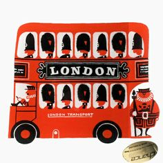 Vintage Chance Glass dish depicting a London double-decker bus designed by Kenneth Townsend - LOVE!