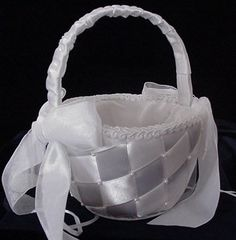 elegant+flower+girl+baskets | flower girl basket fb800 satin basket with pearls $ 22 00 more info