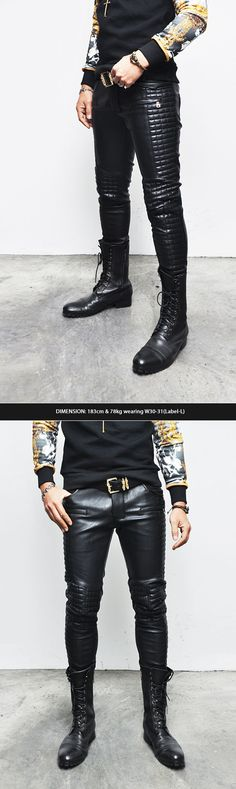Men's Full Leather Quilt Biker Pants