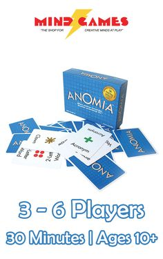 Anomia plays off the fact that our minds are positively brimming with all sorts of random information. Players face-off with matching cards and must blurt out the person, place, or thing on one another's cards before the other person.