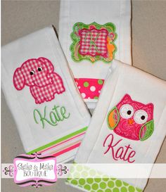 Personalized BURP CLOTH SET  Baby Girl by ShakeandMake on Etsy, $24.99