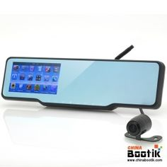 Car Bluetooth Rear View Mirror Kit - GPS, Radar Detector, DVR, Wireless Camera, Free Micro SD Card #Carrearview #rearview