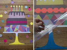 Tarjeta de cumpleaños en forma de pastel.
