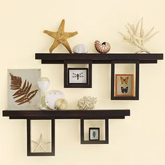 Wall-mounted shelves are ideal for showing off photos or artwork.