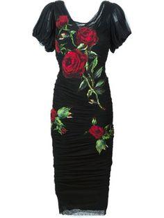 rose print appliqué dress