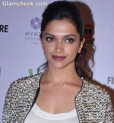 Deepika Padukone Makeup & Hairstyle : glossy burgundy pout & high ponytail