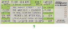 Prince Vintage Ticket Warfield Theatre (San Francisco, CA) Nov 10, 1988