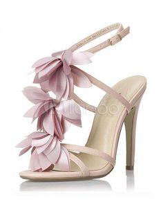 Lindas sandalias de PU de color rosa con flor de tacón - Milanoo.com