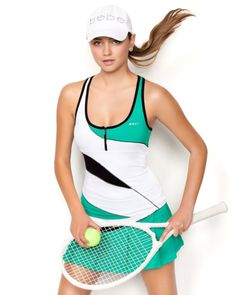 BEBE Sport - Green Tennis Colorblock 1/2 Zipper Tank @bebestores ~ Trendy Tennis - Tennis Fashion Blog