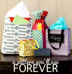 FREE fabric gift bag sewing patterns