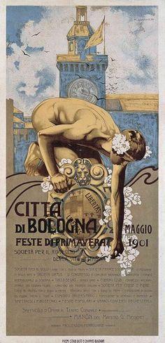 Città di Bologna Feste di Primavera (Spring Festival, City of Bologna), poster by Marcello Dudovich, 1901