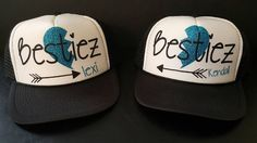 Two of a kind? BFF's for Life? Pea's in a Pod? This SET of hats is perfect for you and your Best Friend! ** This listing is for set of (2) BFF Hats ** Customized Bestie'z with Heart /Arrow and (Added Customized) Name Trucker Hats. Additional hat and glitter colors are available. Please see chart in photos. We can customize to your style! If you have any questions, please contact us! We will be more than happy to help you answer any questions and customize your order to make sure everything i
