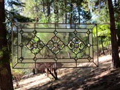 Large Triple Beveled Flowers Stained Glass Window by DebsGlassArt