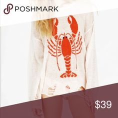"""Lobster Knitted Pullover Sweater Great Christmas  gift!  I have 2 of these in red with cream colored lobster and 2 in cream with a red colored lobster. Exactly as pictured EXCEPT the red in both is slightly more """"coral"""" but not pink and the """"tattered"""" look is different with every shirt but in the same places! Sweaters Crew & Scoop Necks"""