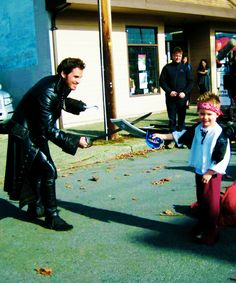 Daddy Hook with his son Evan on set. How cute is this