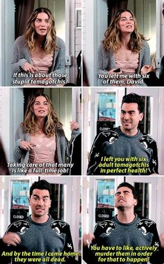 "When Alexis killed all of David's tamagotchis. 28 ""Schitt's Creek"" Moments That Are Actually Hysterical Favorite Tv Shows, My Favorite Things, David Rose, Schitts Creek, Reality Tv Shows, Funny Moments, Movies And Tv Shows, Movie Tv, Movie List"