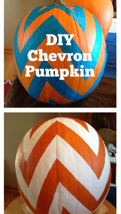 DIY Chevron Pumpkin: painters tape and craft paint