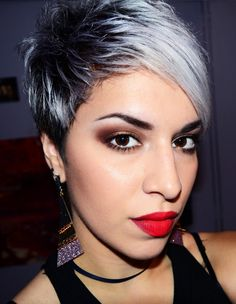 Love this cut & color.... Smokey Bedroom Eyes And Red Lips