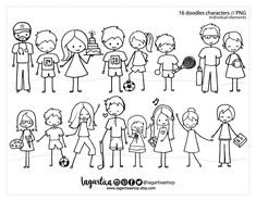 https://www.etsy.com/mx/listing/614818072/dibujo-personajes-para-tarjetas #doodles #characters #christmascards #family #baker #doctor #sports #singer #dancer #moms