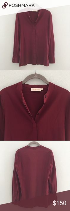 Tory Burch Blouse Shirt originally came with a matching silk tie this one does NOT come with one. 93% Silk 7% Spandex. Shirt fully unbuttons from front. Never worn. Perfect condition. Tory Burch Tops Blouses