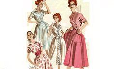 1950s Womens Wrap Around Dress Pattern Quick 'N Easy Bust 32 Size 12 Butterick 7995 Cummerbund Contrast Bodice Vintage Sewing Pattern Uncut