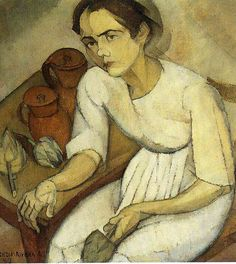 'Girl with Artichokes', 1913 - Diego Rivera, He was the great artist at the time. Frida was only his companion. How things have changed since then.