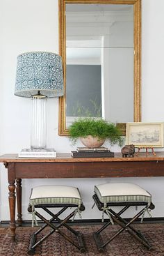 Entry Table Decoration Ideas Fresh Well Traveled Textiles and One Off Global Fin. Entry Table Decoration Ideas Fresh Well Traveled Textiles and One Off Global Fin… Entry Table De Foyer Decorating, Interior Decorating, Interior Styling, Decorating Ideas, Design Entrée, House Design, My Living Room, Living Spaces, Entry Tables