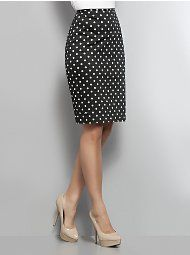 Polka Dot Pencil Skirt! I would love this with a solid bright pink, turquoise or red ruffle shirt.
