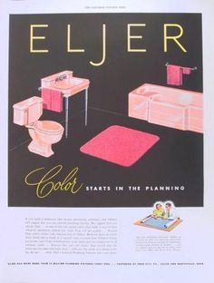 1950 ad ELJER bathroom plumbing fixtures ~ pink sink toilet tub