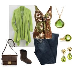 Peridot and Brown - Plus Size, created by intcon on Polyvore