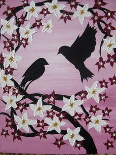 pink painting on canvas of birds lovebirds romantic love gift present romantic presents for valentines day love art white flowers paintings