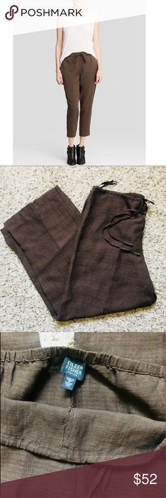 """Eileen Fisher Linen Blend Drawstring Pants Eileen Fisher Linen Blend Drawstring Pants size PS, but I personally like purchasing my slouchy pants by Eileen Fisher in a """"petite size"""" I like them slightly cropped! I'm just under 5""""5 and these hit  at my ankle, would be cute on someone taller as well. Fabric content is Italian fabric (Linen Blend) according to EF website. In excellent condition. Worn a few times in vacation and only dry cleaned. Please note the first photo is for styling…"""