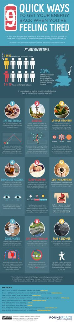 9 Quick Ways To Get Back Your Energy When You're Feeling Tired #Infographic #LifeStyle