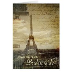 Paris Wedding Thank You Cards Paris Eiffel Tower Will You Be My Bridesmaid Card