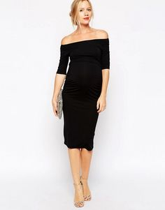 ced45733278f DESIGN Maternity bardot dress with half sleeve. Pregnant Wedding Guest  OutfitsMaternity ...