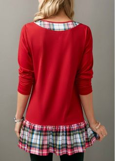 Plaid Print Patchwork Ruffle Hem Long Sleeve Blouse on sale only US$31.11 now, buy cheap Plaid Print Patchwork Ruffle Hem Long Sleeve Blouse at liligal.com