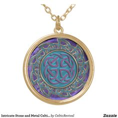 Intricate Stone and Metal Look #Celtic Knot #Mandala Round #Pendant #Necklace  #zazzle