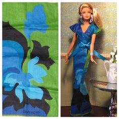Barbie doll dress made from Givenchy hankie Barbie Clothes Patterns, Sewing Doll Clothes, Sewing Dolls, Clothing Patterns, Barbie I, Barbie World, Barbie And Ken, Barbie Dress, Dolly Fashion