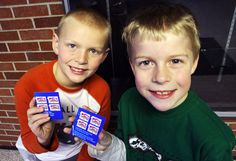 Fellows Elementary second graders Leo Sullivan and Jackson Diekmann show off some of the box tops collected at their school. Photo by Sarina Rhinehart/Ames Tribune  http://amestrib.com/news/box-tops-benefit-ames-elementary-schools