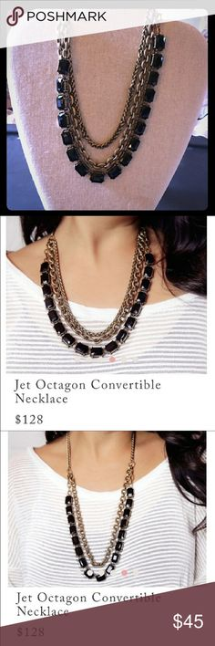 Jet Octogan Necklace The ultimate in versatility, we've counted up five ways to style this one-of-a-kind convertible necklace: layered up short with all three rows, layered long by removing the converter piece + looping one of the chains over your neck, styled solo as a chic jet black glass necklace, doubled up short with just the chains, or as one simply stunning long chain. Set in antique gold plating, this luxe vintage-inspired piece is the perfect desk-to-dinner style companion! Chloe…