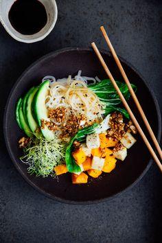 Pumpkin Tofu Noodle Bowl